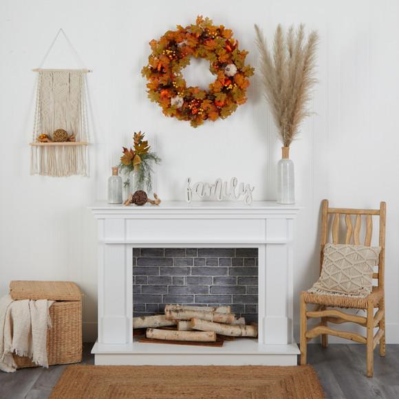 30 Autumn Pumpkin and Maple Leaf Artificial Fall Wreath - SKU #W1182 - 3