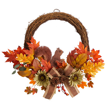 26 Fall Harvest Artificial Autumn Wreath with Twig Base and Bunny - SKU #W1183