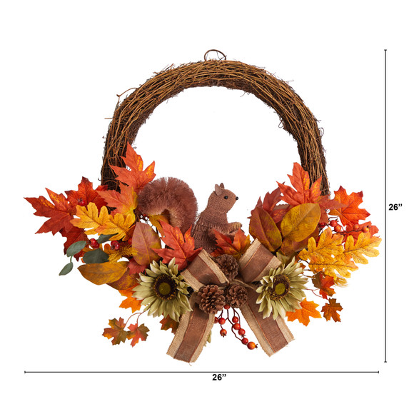 26 Fall Harvest Artificial Autumn Wreath with Twig Base and Bunny - SKU #W1183 - 1