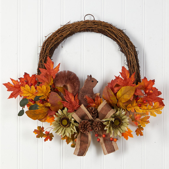 26 Fall Harvest Artificial Autumn Wreath with Twig Base and Bunny - SKU #W1183 - 2