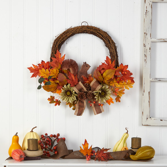 26 Fall Harvest Artificial Autumn Wreath with Twig Base and Bunny - SKU #W1183 - 3