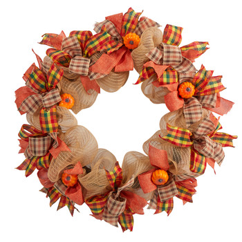 30 Autumn Pumpkin with Decorative Bows Artificial Fall Wreath - SKU #W1184