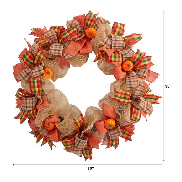 30 Autumn Pumpkin with Decorative Bows Artificial Fall Wreath - SKU #W1184 - 1