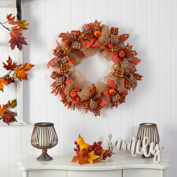 30 Autumn Pumpkin with Decorative Bows Artificial Fall Wreath - SKU #W1184 - 2