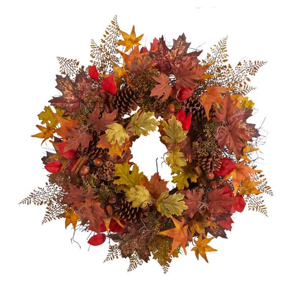 30 Autumn Maple Leaves Acorn Pinecones and Cinnamon Sticks Artificial Fall Wreath - SKU #W1185