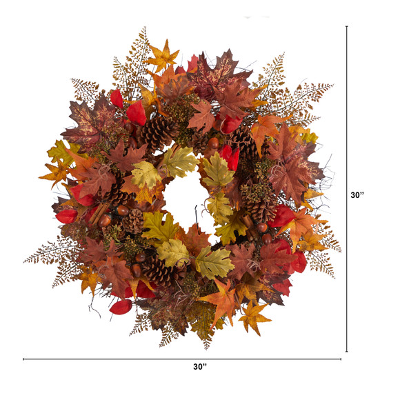 30 Autumn Maple Leaves Acorn Pinecones and Cinnamon Sticks Artificial Fall Wreath - SKU #W1185 - 1