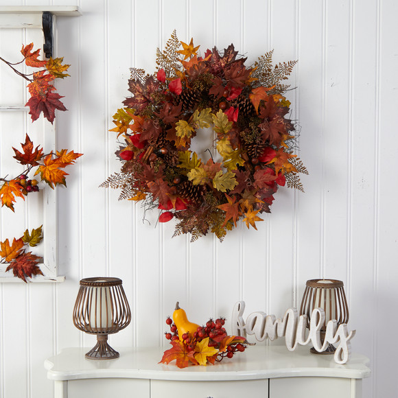 30 Autumn Maple Leaves Acorn Pinecones and Cinnamon Sticks Artificial Fall Wreath - SKU #W1185 - 2
