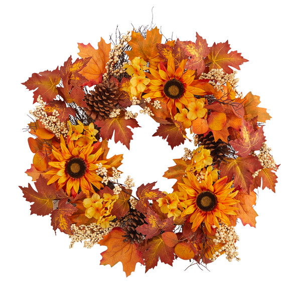 28 Autumn Maple Leaves Sunflower White Berries and Pinecones Artificial Fall Wreath - SKU #W1186