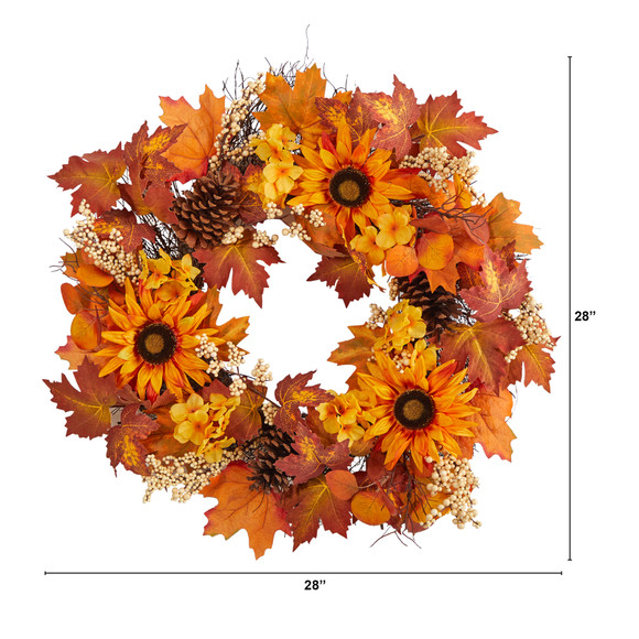 28 Autumn Maple Leaves Sunflower White Berries and Pinecones Artificial Fall Wreath - SKU #W1186 - 1