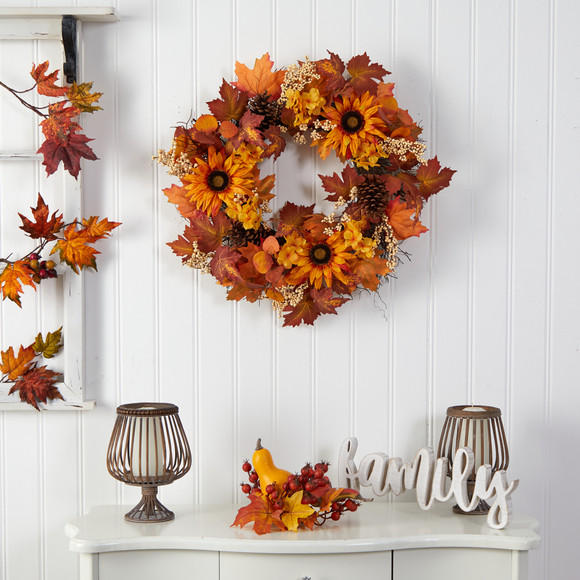 28 Autumn Maple Leaves Sunflower White Berries and Pinecones Artificial Fall Wreath - SKU #W1186 - 2