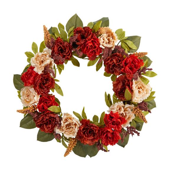 30 Harvest and Peony Artificial Wreath - SKU #W1187