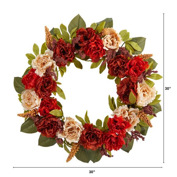 30 Harvest and Peony Artificial Wreath - SKU #W1187 - 1