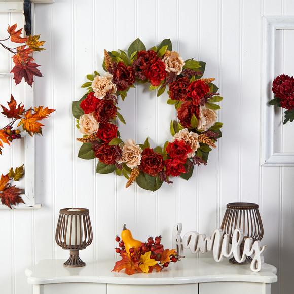 30 Harvest and Peony Artificial Wreath - SKU #W1187 - 2