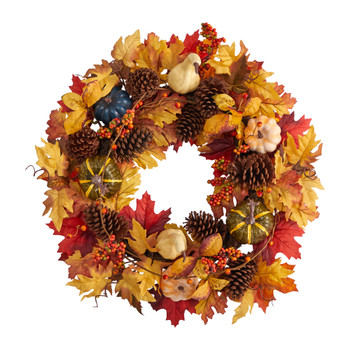 26 Fall Pumpkin Gourd Pinecone and Maple Leaf Artificial Autumn Wreath - SKU #W1188