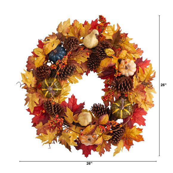 26 Fall Pumpkin Gourd Pinecone and Maple Leaf Artificial Autumn Wreath - SKU #W1188 - 1