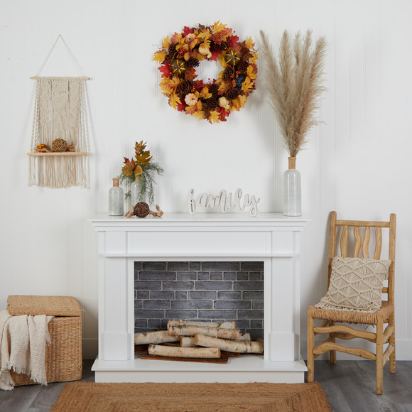 26 Fall Pumpkin Gourd Pinecone and Maple Leaf Artificial Autumn Wreath - SKU #W1188 - 3
