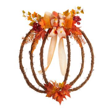 26 Autumn Pumpkin Artificial Vine Fall Wreath - SKU #W1189