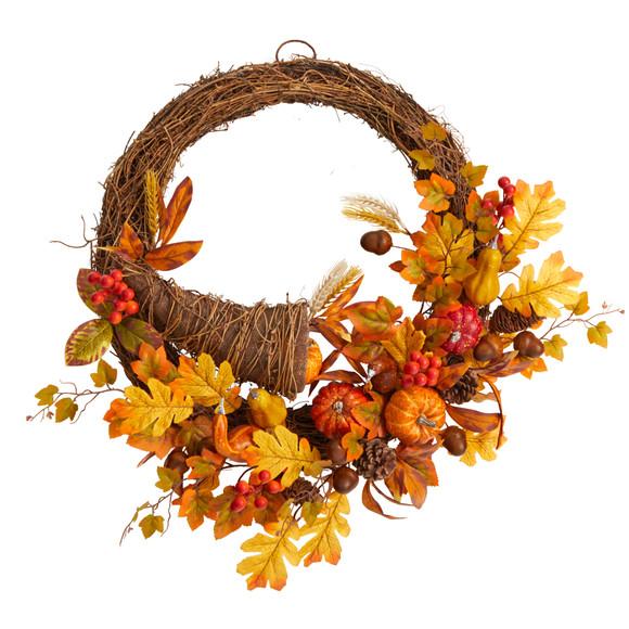 26 Autumn Artificial Cornucopia Fall Wreath - SKU #W1191