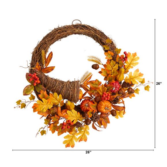 26 Autumn Artificial Cornucopia Fall Wreath - SKU #W1191 - 1