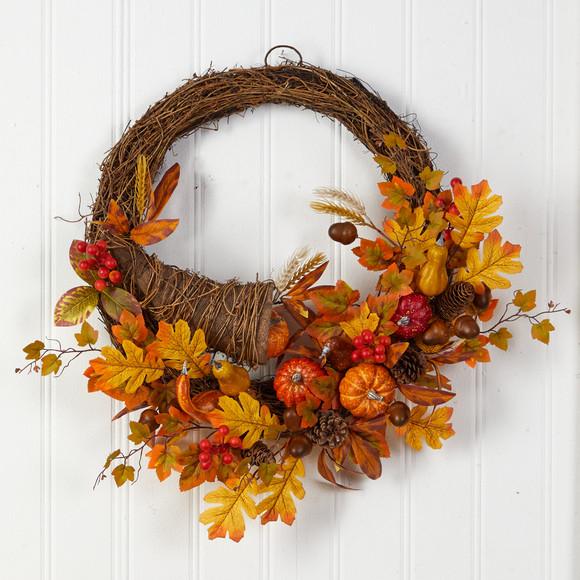 26 Autumn Artificial Cornucopia Fall Wreath - SKU #W1191 - 2