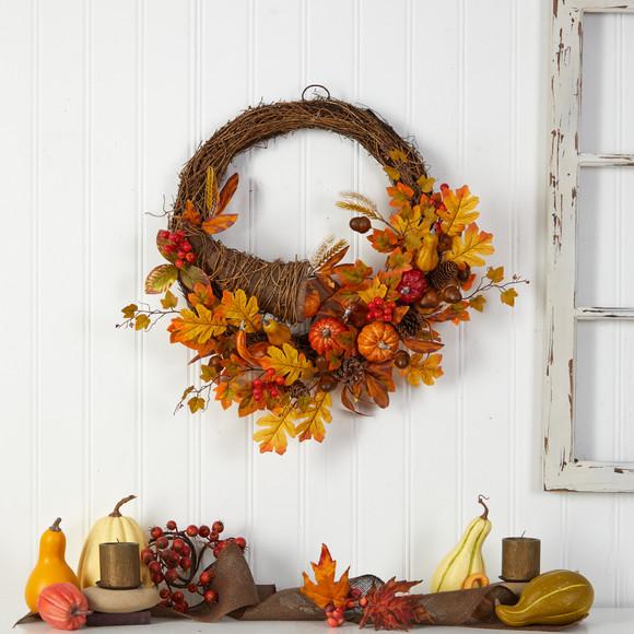 26 Autumn Artificial Cornucopia Fall Wreath - SKU #W1191 - 3