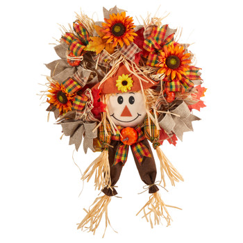 30 Scarecrow Fall Artificial Autumn Wreath with Sunflower Pumpkin and Decorative Bows - SKU #W1192