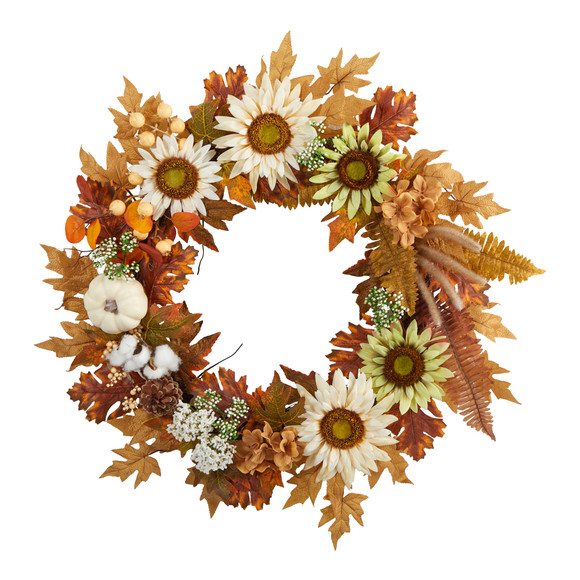 30 Autumn Sunflower White Pumpkin and Berries Artificial Fall Wreath - SKU #W1193