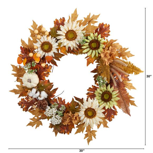 30 Autumn Sunflower White Pumpkin and Berries Artificial Fall Wreath - SKU #W1193 - 1
