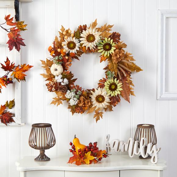 30 Autumn Sunflower White Pumpkin and Berries Artificial Fall Wreath - SKU #W1193 - 2