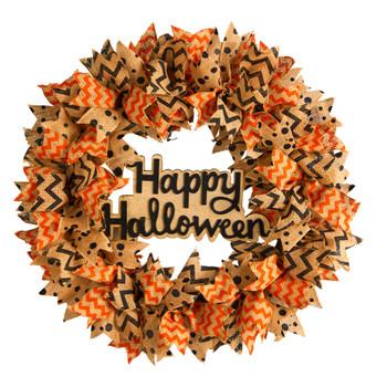 30 Halloween Burlap Ribbon Wreath - SKU #W1194