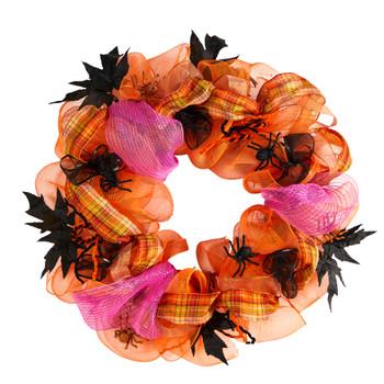 26 Halloween Spider Mesh Wreath - SKU #W1196