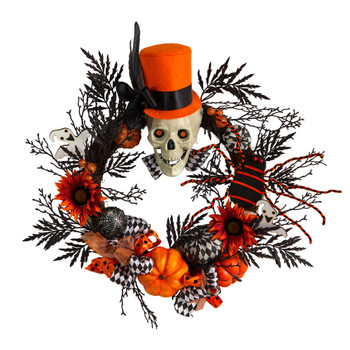 30 Spider and Skull with Top Hat Halloween Wreath - SKU #W1197