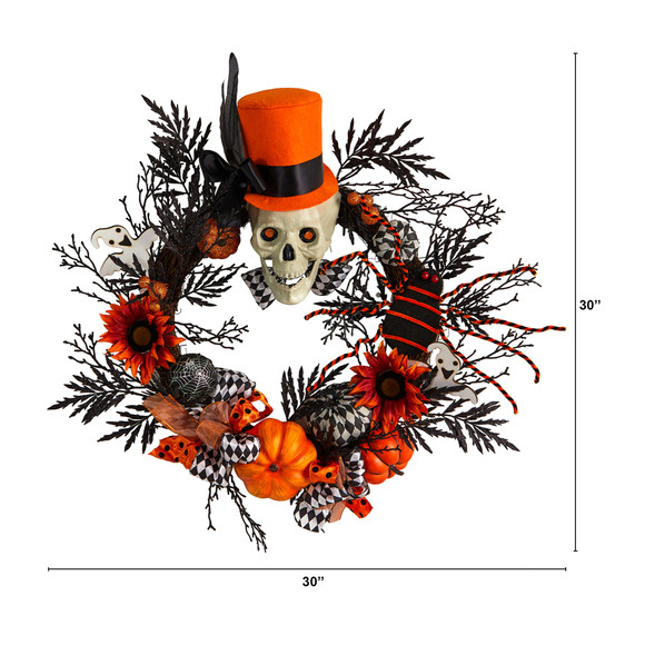30 Spider and Skull with Top Hat Halloween Wreath - SKU #W1197 - 1