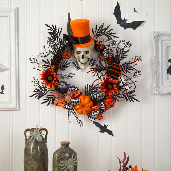 30 Spider and Skull with Top Hat Halloween Wreath - SKU #W1197 - 2