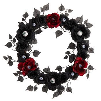 24 Eyeball Rose Halloween Artificial Wreath - SKU #W1198