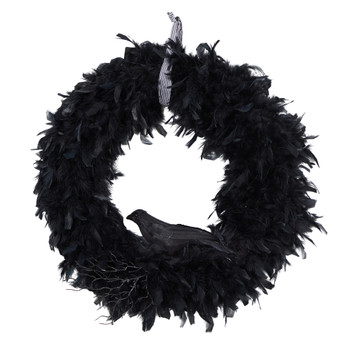 30 Halloween Raven Feather Wreath - SKU #W1201