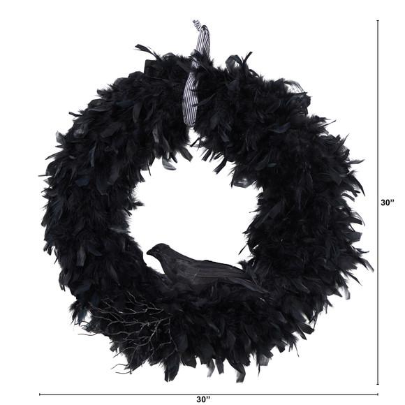 30 Halloween Raven Feather Wreath - SKU #W1201 - 1