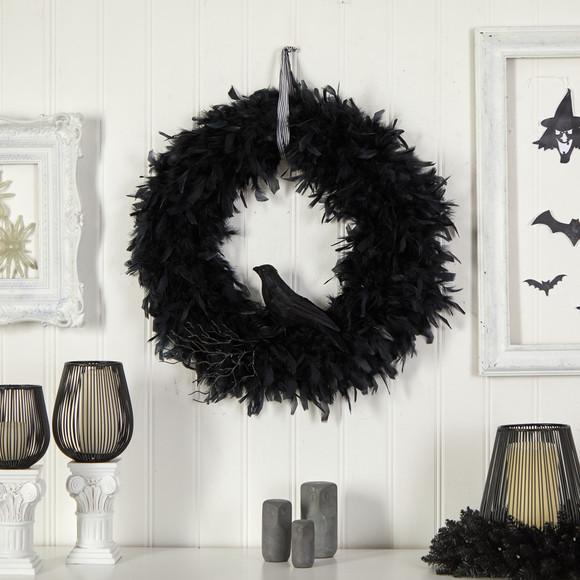 30 Halloween Raven Feather Wreath - SKU #W1201 - 2