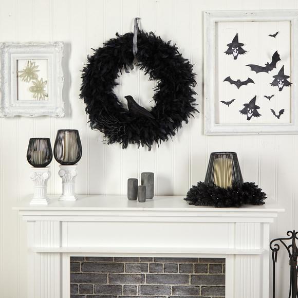 30 Halloween Raven Feather Wreath - SKU #W1201 - 3