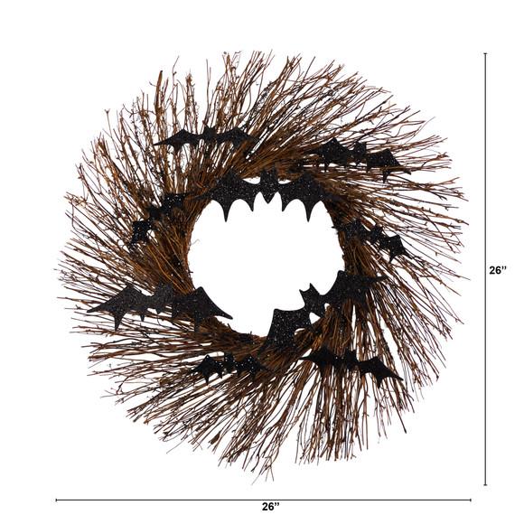 26 Halloween Bats Twig Wreath - SKU #W1202 - 1