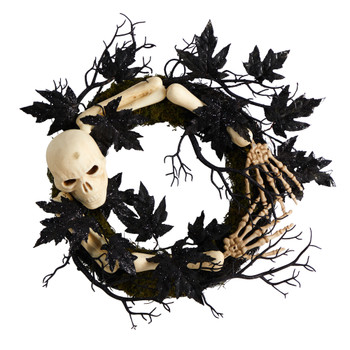 24 Halloween Skull and Bones Wreath - SKU #W1206