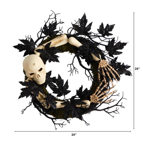 24 Halloween Skull and Bones Wreath - SKU #W1206 - 1