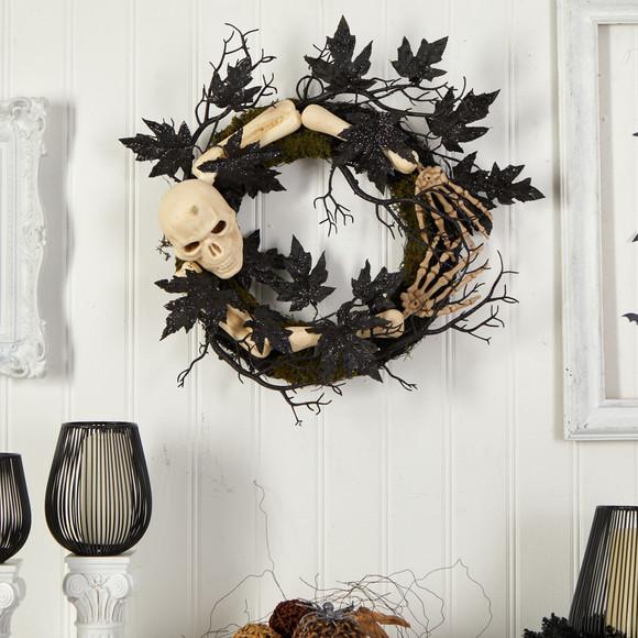 24 Halloween Skull and Bones Wreath - SKU #W1206 - 2