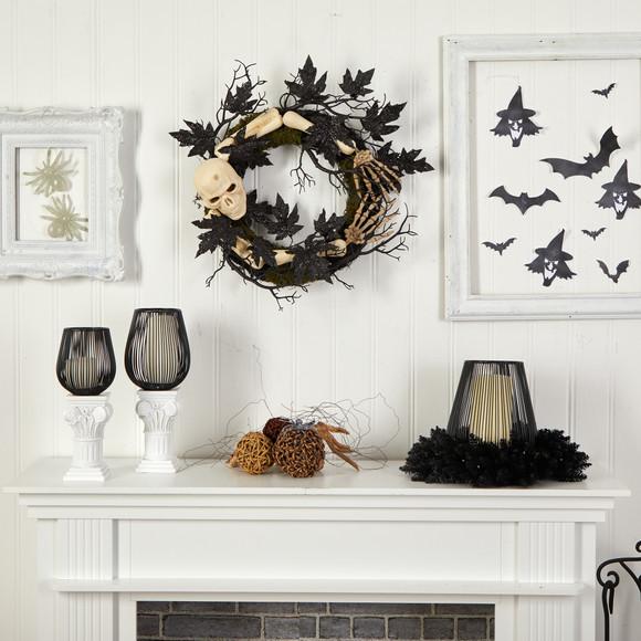 24 Halloween Skull and Bones Wreath - SKU #W1206 - 3