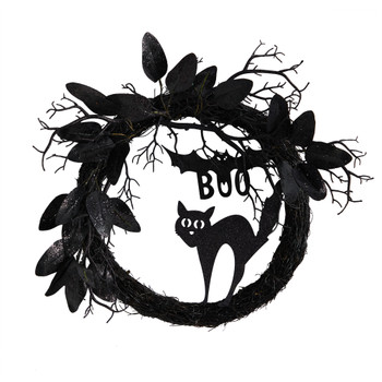 22 Halloween Black Cat and Bat Boo Twig Wreath - SKU #W1207