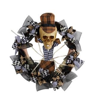 24 Halloween Skull in Plaid Mesh Wreath - SKU #W1208