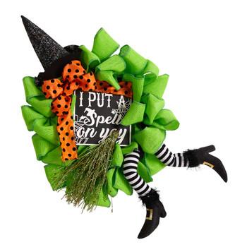 26 Halloween Witch Broom and Hat Mesh Wreath - SKU #W1210