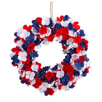 18 Americana Patriotic Hydrangea Artificial Wreath Red White and Blue - SKU #W1211