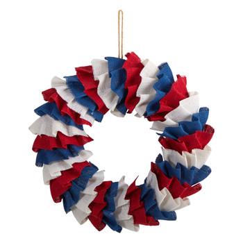 18 Red White and Blue Americana Burlap Wreath - SKU #W1212