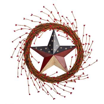 20 Americana Patriotic Star Wreath Red White and Blue - SKU #W1215